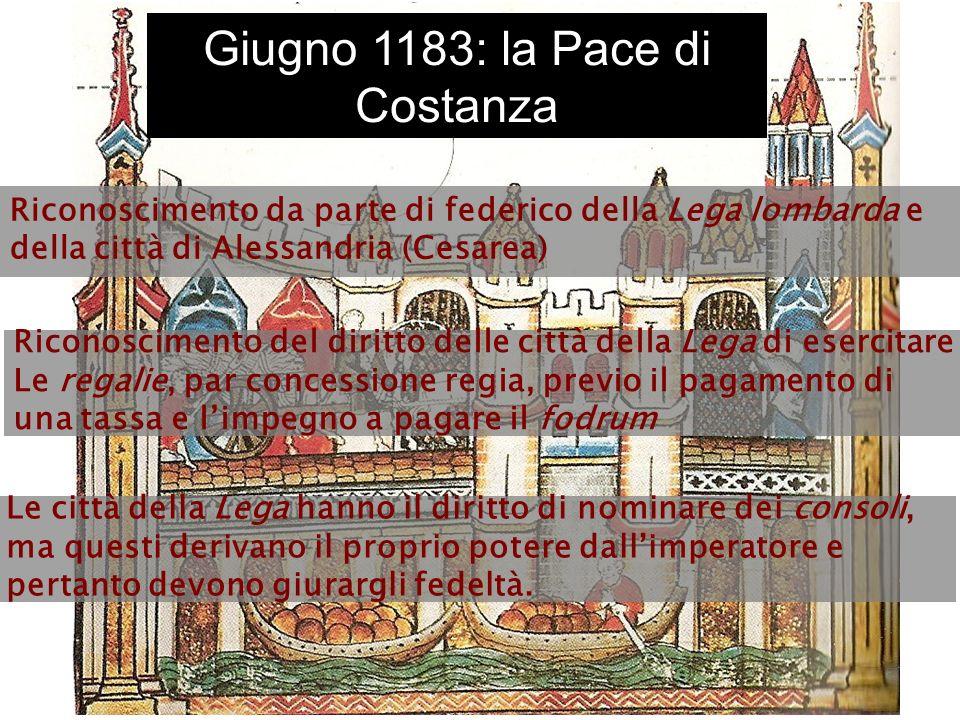 Giugno 1183: la Pace di Costanza Riconoscimento da parte di federico della Lega lombarda e della città di Alessandria (Cesarea) Riconoscimento del dir