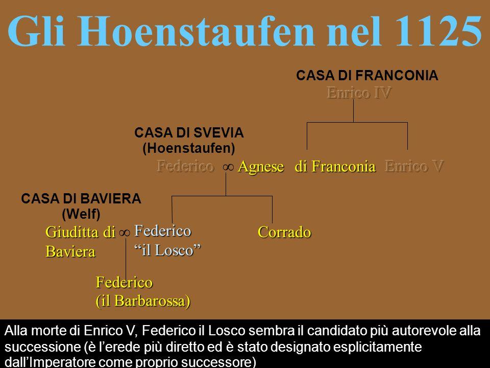 Gli Hoenstaufen nel 1125 CASA DI FRANCONIA CASA DI SVEVIA (Hoenstaufen) Federico il Losco Corrado Giuditta di Baviera CASA DI BAVIERA (Welf) Federico