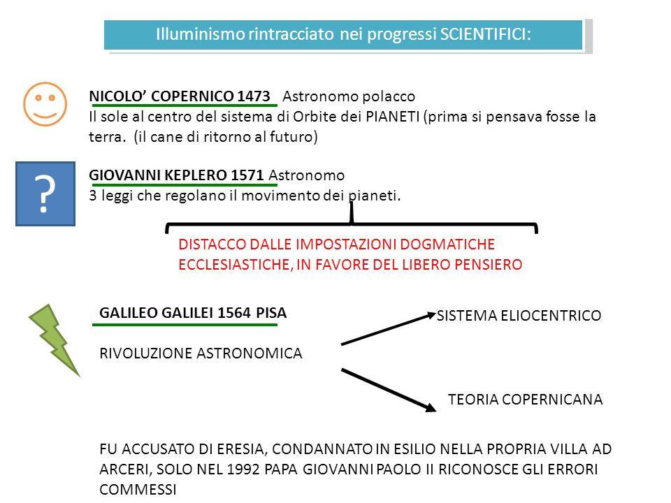 Illuminismo rintracciato nei progressi SCIENTIFICI: NICOLO COPERNICO 1473 Astronomo polacco Il sole al centro del sistema di Orbite dei PIANETI (prima si pensava fosse la terra.