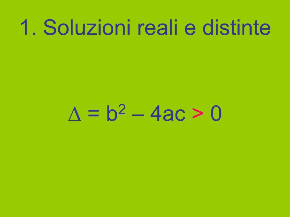 1. Soluzioni reali e distinte = b 2 – 4ac > 0