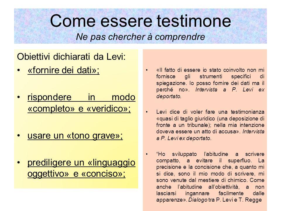 Come essere testimone Ne pas chercher à comprendre Obiettivi dichiarati da Levi: «fornire dei dati»; rispondere in modo «completo» e «veridico»; usare