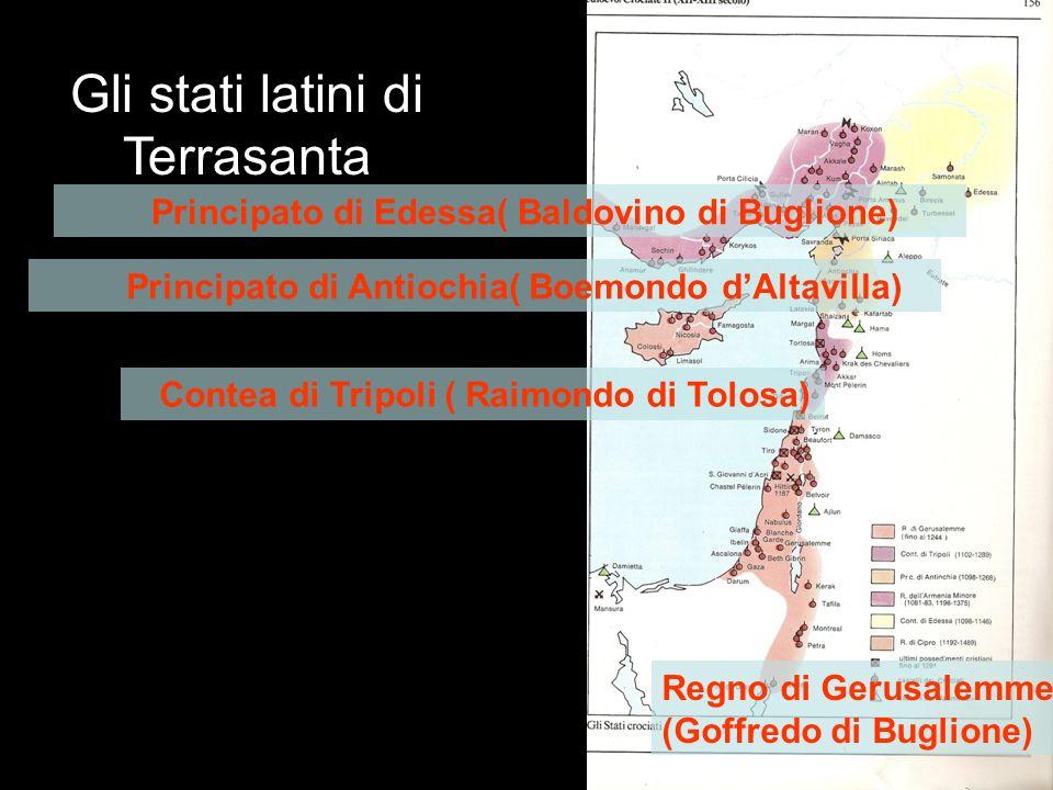 Gli stati latini di Terrasanta Regno di Gerusalemme (Goffredo di Buglione) Contea di Tripoli ( Raimondo di Tolosa) Principato di Antiochia( Boemondo dAltavilla) Principato di Edessa( Baldovino di Buglione)