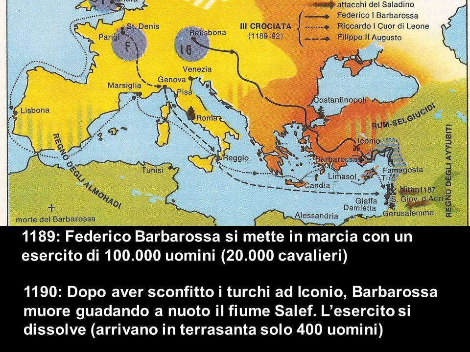 1189: Federico Barbarossa si mette in marcia con un esercito di 100.000 uomini (20.000 cavalieri) 1190: Dopo aver sconfitto i turchi ad Iconio, Barbarossa muore guadando a nuoto il fiume Salef.