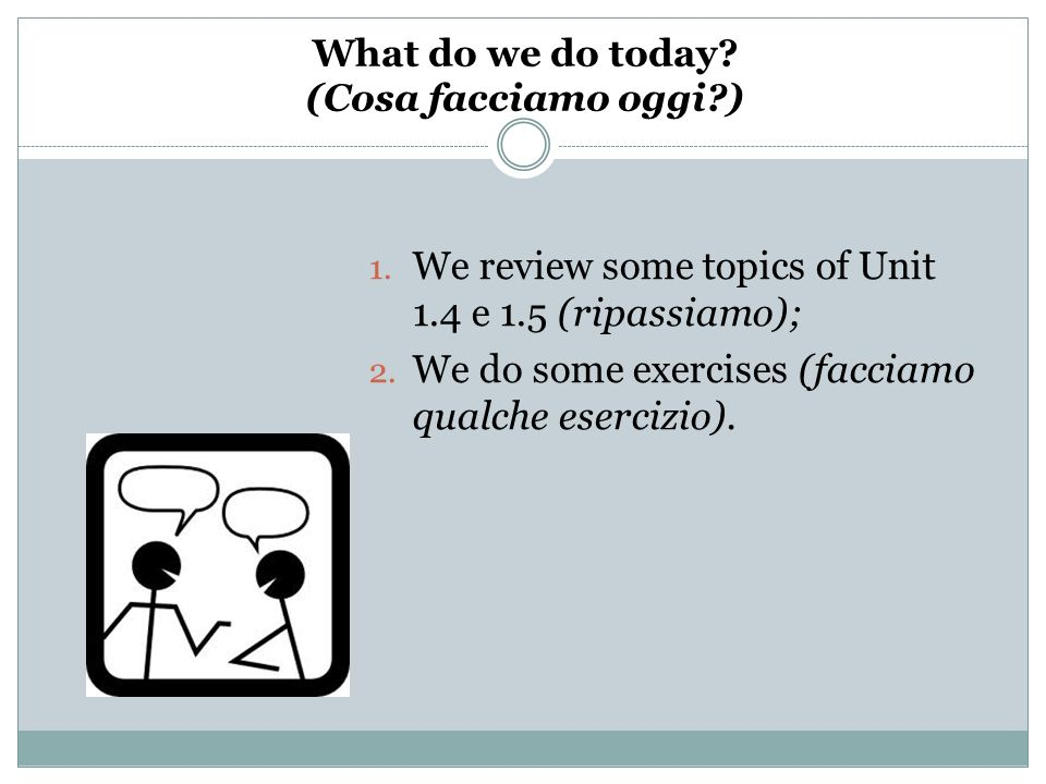 What do we do today? (Cosa facciamo oggi?) 1. We review some topics of Unit 1.4 e 1.5 (ripassiamo); 2. We do some exercises (facciamo qualche esercizi