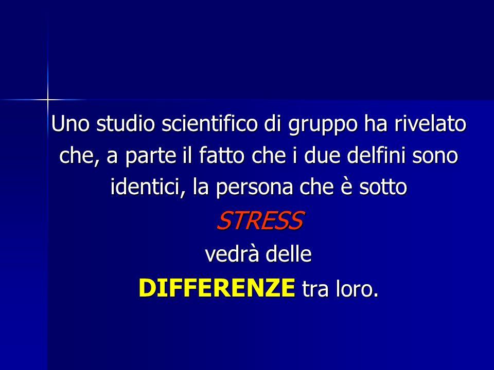 Uno studio scientifico di gruppo ha rivelato che, a parte il fatto che i due delfini sono identici, la persona che è sotto STRESS vedrà delle DIFFERENZE tra loro.