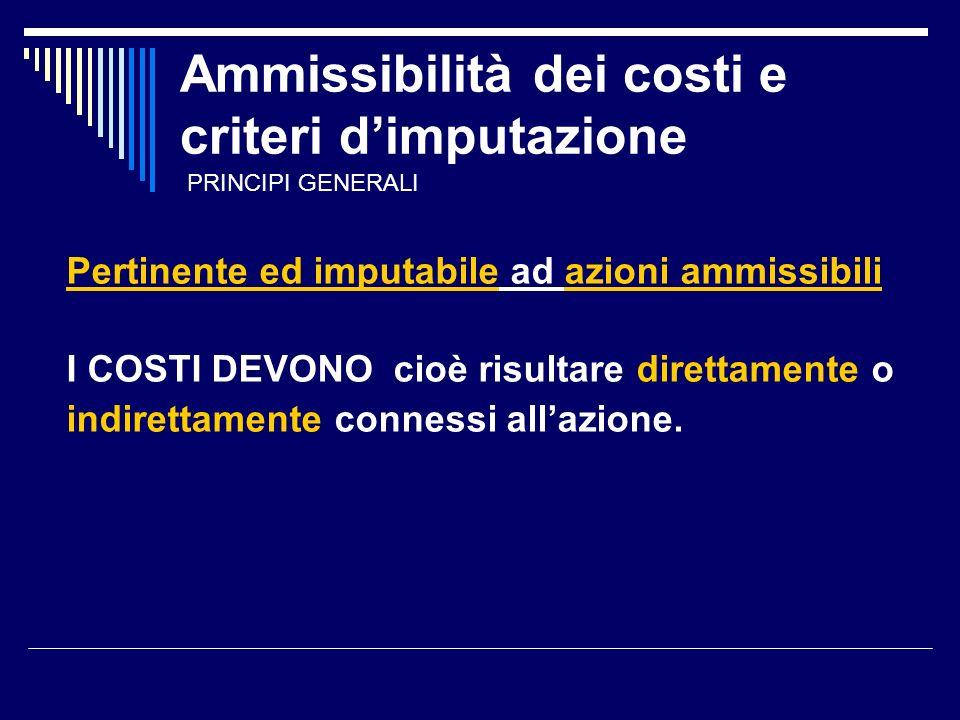 Ammissibilità dei costi e criteri dimputazione Pertinente ed imputabile ad azioni ammissibili I COSTI DEVONO cioè risultare direttamente o indirettamente connessi allazione.