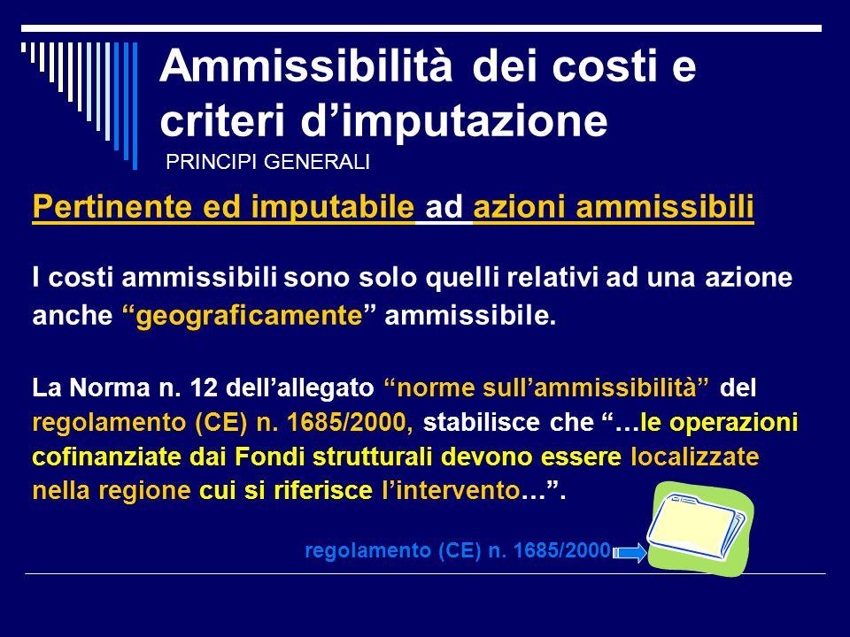 Ammissibilità dei costi e criteri dimputazione Pertinente ed imputabile ad azioni ammissibili I costi ammissibili sono solo quelli relativi ad una azione anche geograficamente ammissibile.