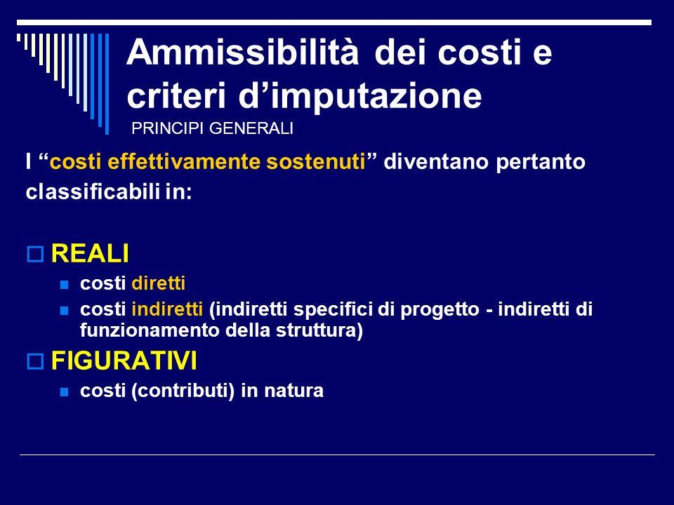 Ammissibilità dei costi e criteri dimputazione I costi effettivamente sostenuti diventano pertanto classificabili in: REALI costi diretti costi indiretti (indiretti specifici di progetto - indiretti di funzionamento della struttura) FIGURATIVI costi (contributi) in natura PRINCIPI GENERALI