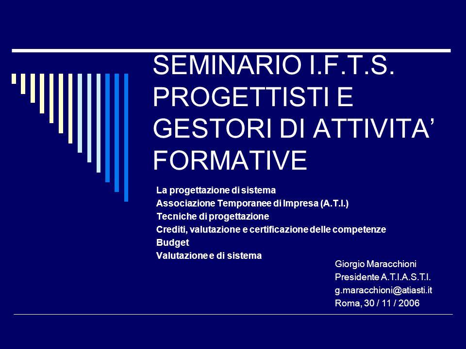 SEMINARIO I.F.T.S. PROGETTISTI E GESTORI DI ATTIVITA FORMATIVE La progettazione di sistema Associazione Temporanee di Impresa (A.T.I.) Tecniche di pro
