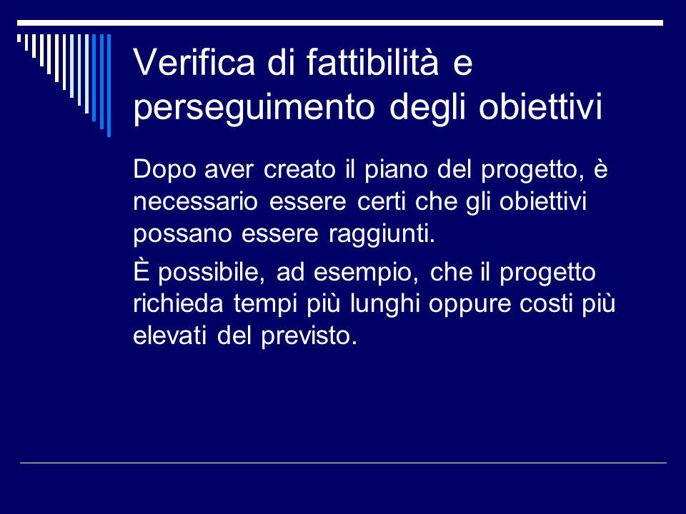 Verifica di fattibilità e perseguimento degli obiettivi Dopo aver creato il piano del progetto, è necessario essere certi che gli obiettivi possano es