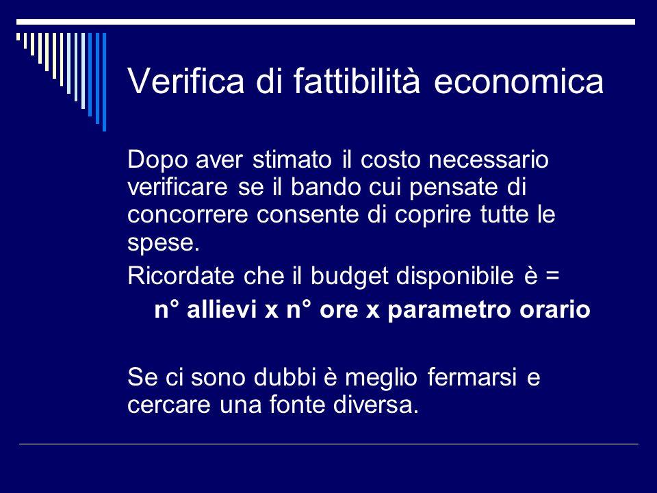 Verifica di fattibilità economica Dopo aver stimato il costo necessario verificare se il bando cui pensate di concorrere consente di coprire tutte le