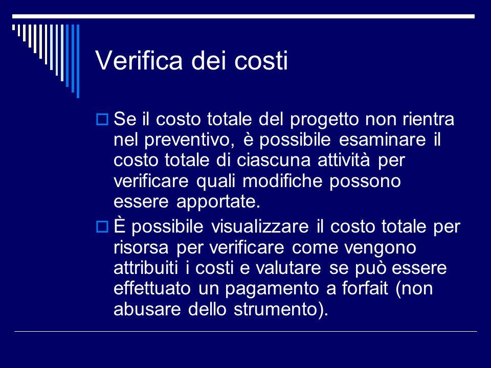 Verifica dei costi Se il costo totale del progetto non rientra nel preventivo, è possibile esaminare il costo totale di ciascuna attività per verifica