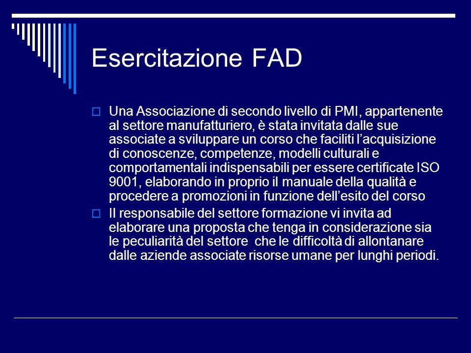 Esercitazione FAD Una Associazione di secondo livello di PMI, appartenente al settore manufatturiero, è stata invitata dalle sue associate a sviluppar