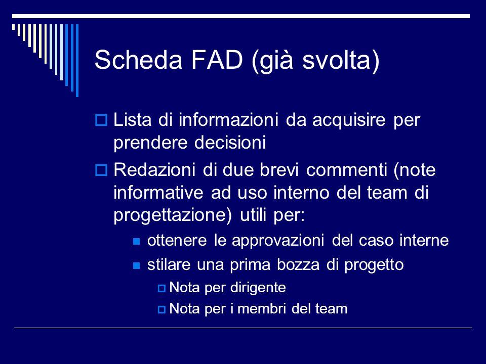 Scheda FAD (già svolta) Lista di informazioni da acquisire per prendere decisioni Redazioni di due brevi commenti (note informative ad uso interno del