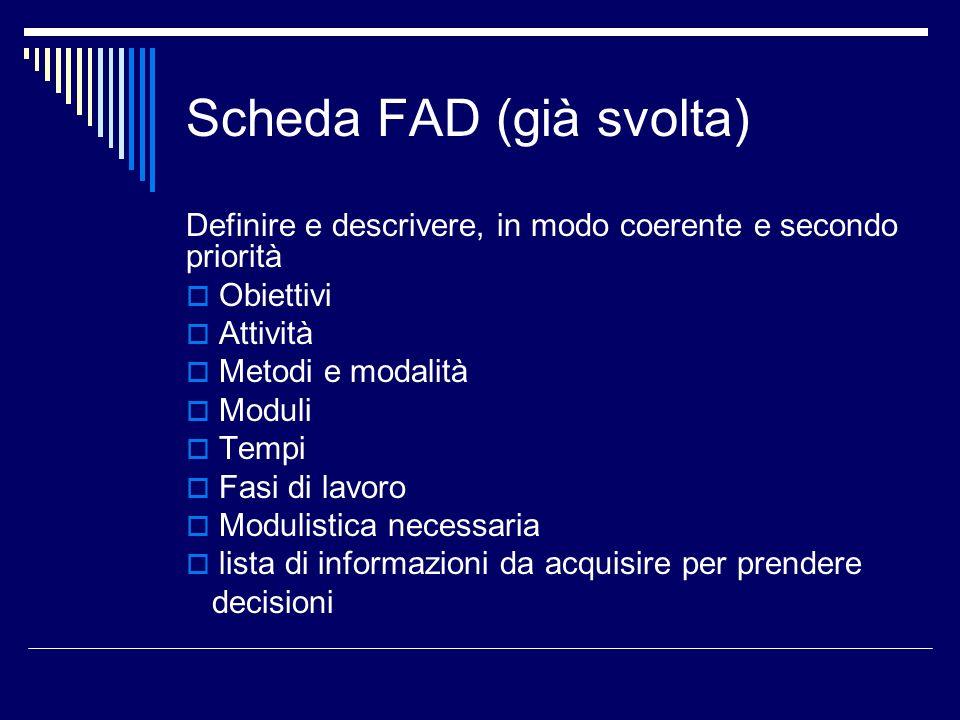 Scheda FAD (già svolta) Definire e descrivere, in modo coerente e secondo priorità Obiettivi Attività Metodi e modalità Moduli Tempi Fasi di lavoro Mo