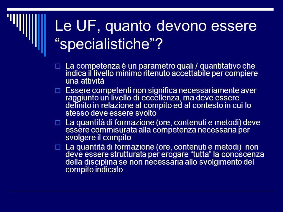 Le UF, quanto devono essere specialistiche? La competenza è un parametro quali / quantitativo che indica il livello minimo ritenuto accettabile per co