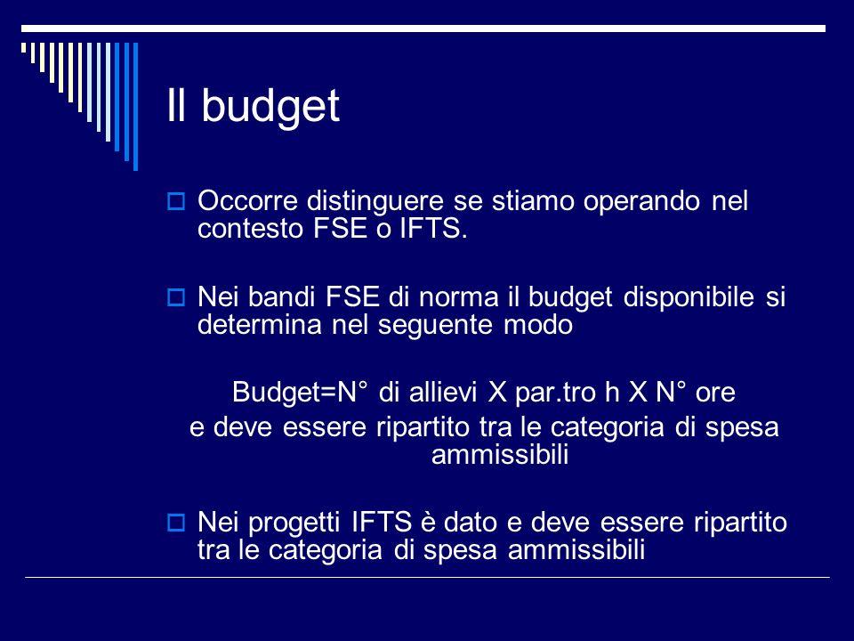Il budget Occorre distinguere se stiamo operando nel contesto FSE o IFTS. Nei bandi FSE di norma il budget disponibile si determina nel seguente modo