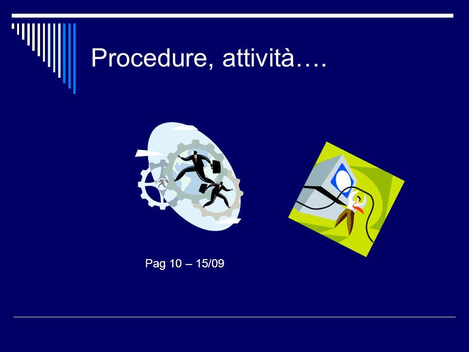 Procedure, attività…. Pag 10 – 15/09