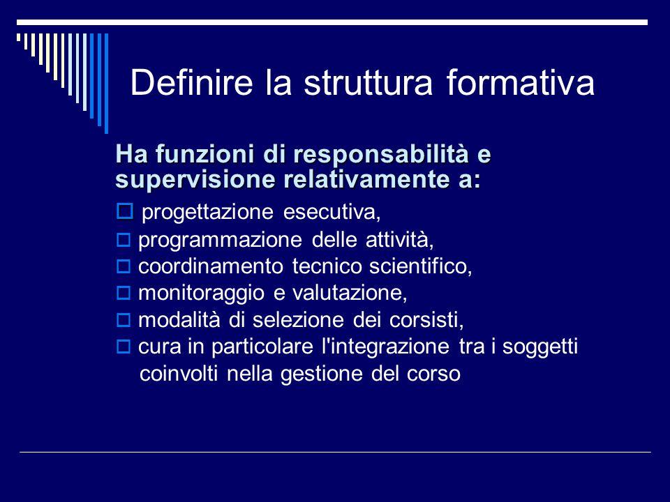 Definire la struttura formativa Ha funzioni di responsabilità e supervisione relativamente a: progettazione esecutiva, programmazione delle attività,
