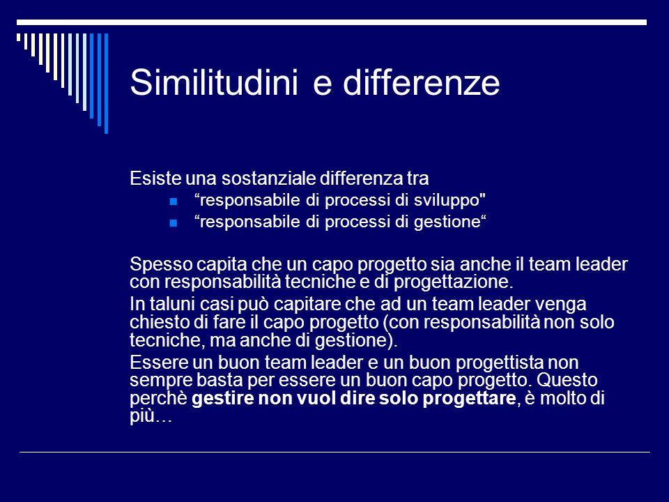 Similitudini e differenze Esiste una sostanziale differenza tra responsabile di processi di sviluppo