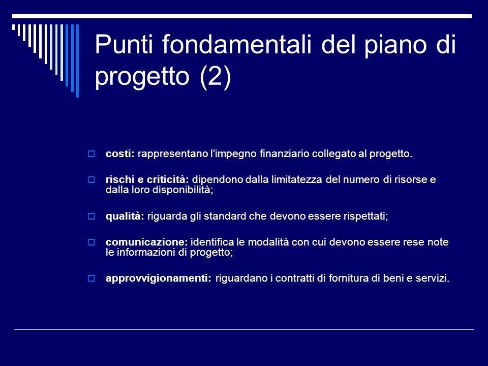 Punti fondamentali del piano di progetto (2) costi: rappresentano l'impegno finanziario collegato al progetto. rischi e criticità: dipendono dalla lim