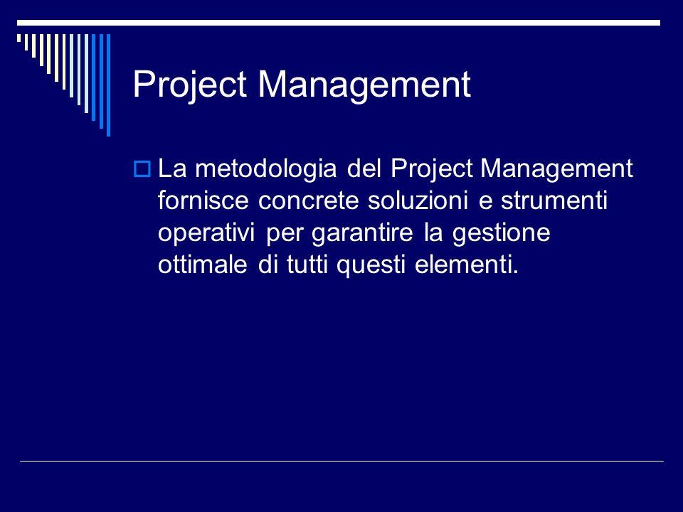 Project Management La metodologia del Project Management fornisce concrete soluzioni e strumenti operativi per garantire la gestione ottimale di tutti