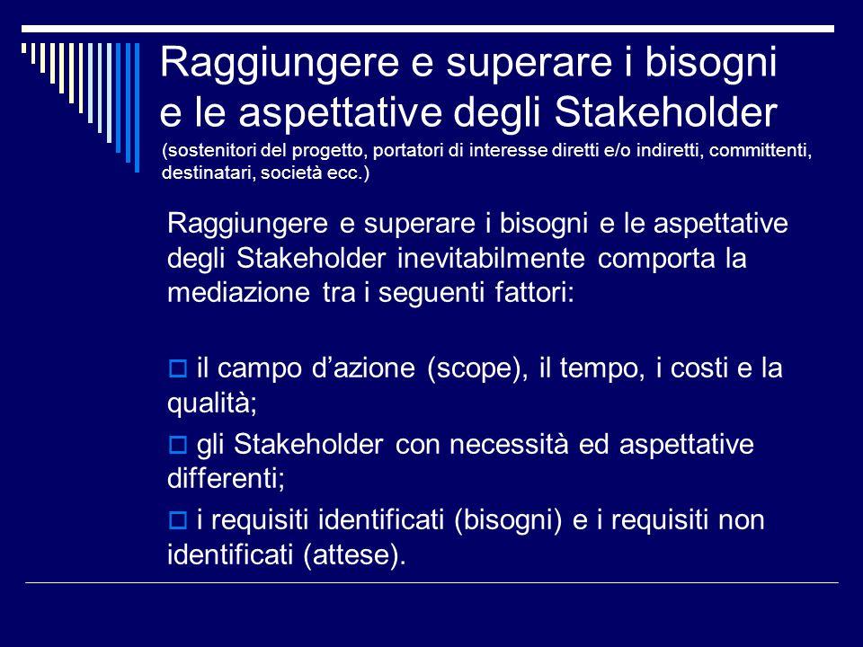 Raggiungere e superare i bisogni e le aspettative degli Stakeholder Raggiungere e superare i bisogni e le aspettative degli Stakeholder inevitabilment