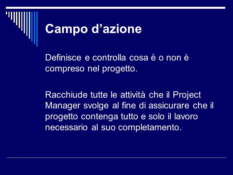 Campo dazione Definisce e controlla cosa è o non è compreso nel progetto. Racchiude tutte le attività che il Project Manager svolge al fine di assicur