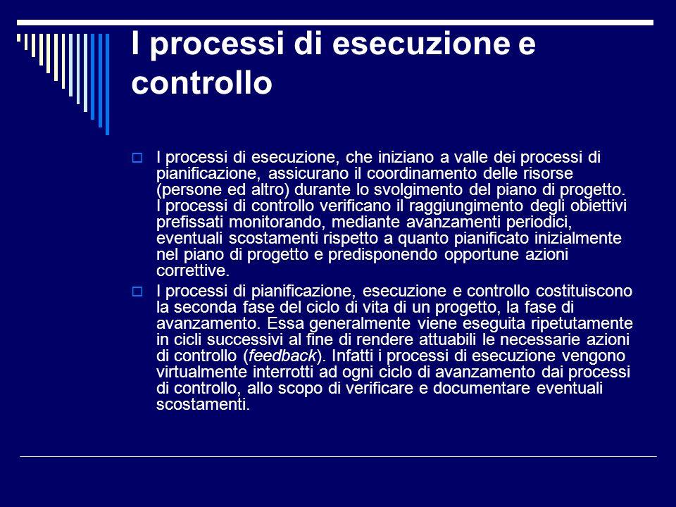 I processi di esecuzione e controllo I processi di esecuzione, che iniziano a valle dei processi di pianificazione, assicurano il coordinamento delle