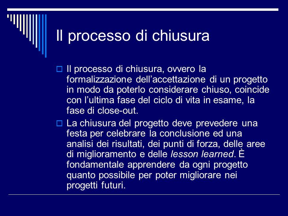Il processo di chiusura Il processo di chiusura, ovvero la formalizzazione dellaccettazione di un progetto in modo da poterlo considerare chiuso, coin