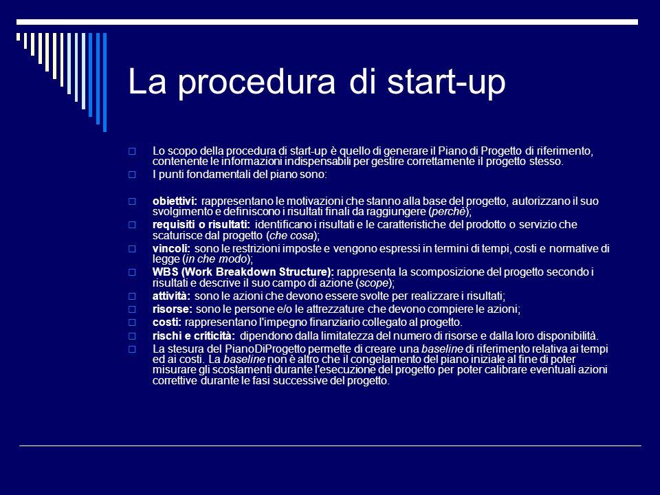 La procedura di start-up Lo scopo della procedura di start-up è quello di generare il Piano di Progetto di riferimento, contenente le informazioni ind