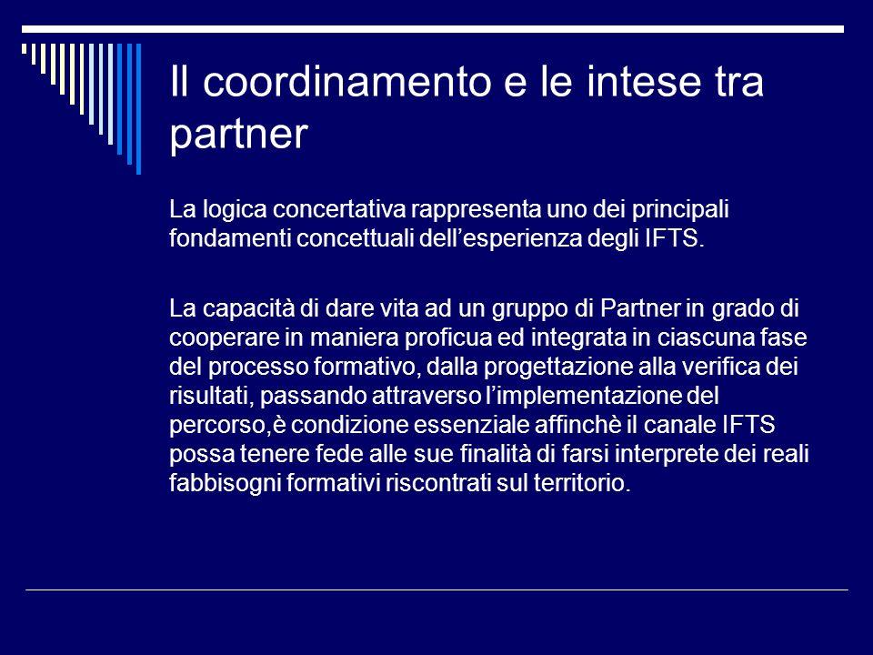 Il coordinamento e le intese tra partner La logica concertativa rappresenta uno dei principali fondamenti concettuali dellesperienza degli IFTS. La ca