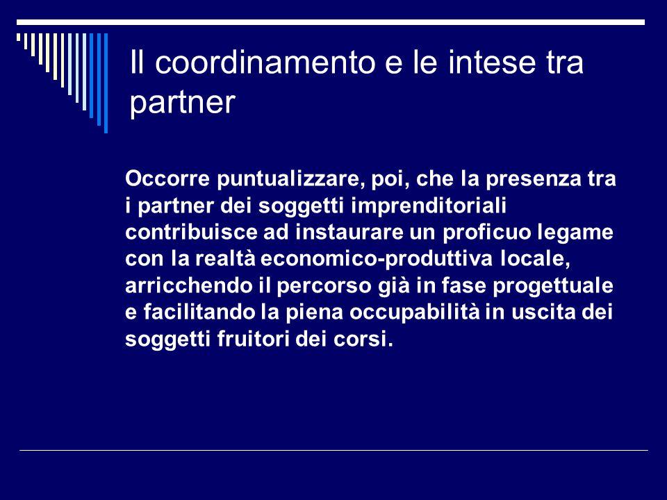 Il coordinamento e le intese tra partner Occorre puntualizzare, poi, che la presenza tra i partner dei soggetti imprenditoriali contribuisce ad instau