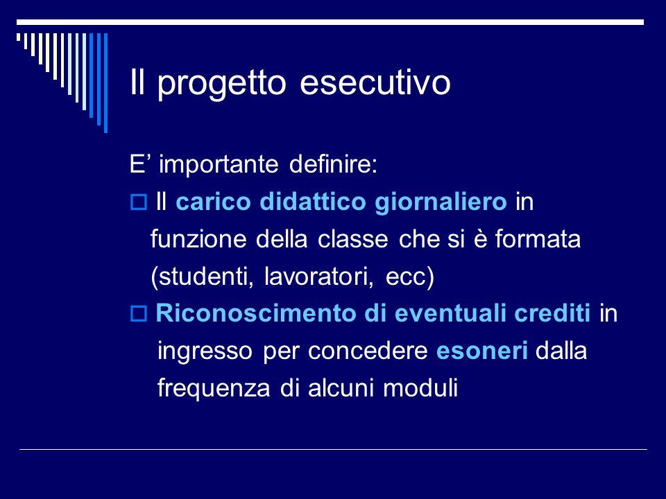 Il progetto esecutivo E importante definire: Il carico didattico giornaliero in funzione della classe che si è formata (studenti, lavoratori, ecc) Ric