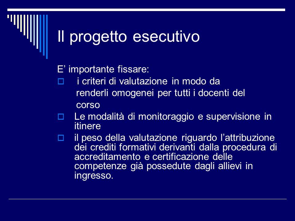 Il progetto esecutivo E importante fissare: i criteri di valutazione in modo da renderli omogenei per tutti i docenti del corso Le modalità di monitor