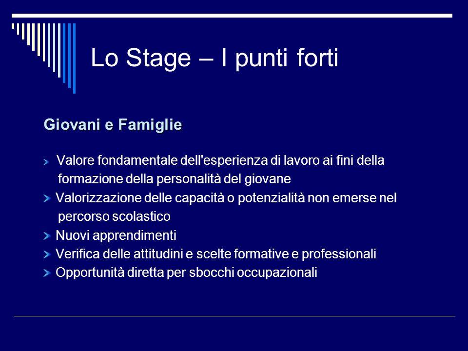 Lo Stage – I punti forti Giovani e Famiglie Valore fondamentale dell'esperienza di lavoro ai fini della formazione della personalità del giovane Valor