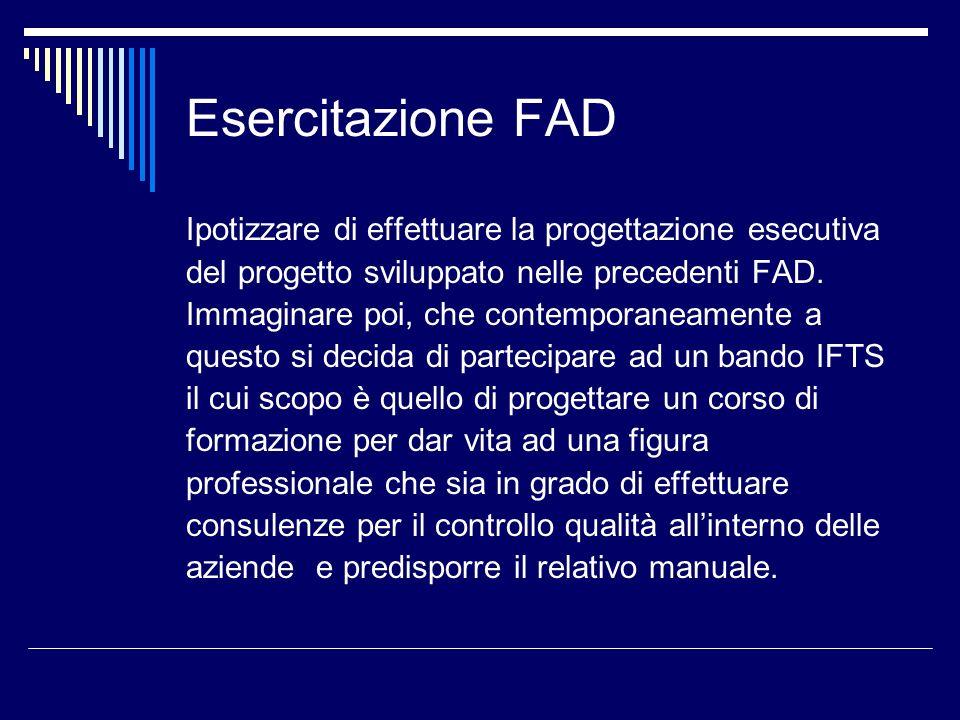 Esercitazione FAD Ipotizzare di effettuare la progettazione esecutiva del progetto sviluppato nelle precedenti FAD. Immaginare poi, che contemporaneam