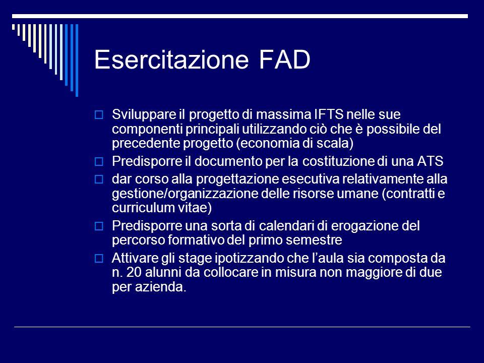 Esercitazione FAD Sviluppare il progetto di massima IFTS nelle sue componenti principali utilizzando ciò che è possibile del precedente progetto (econ