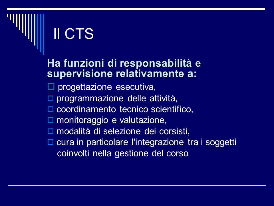 Il CTS Ha funzioni di responsabilità e supervisione relativamente a: progettazione esecutiva, programmazione delle attività, coordinamento tecnico sci
