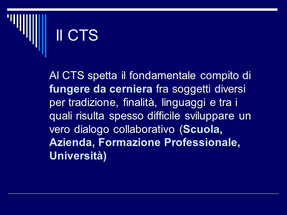 Il CTS Al CTS spetta il fondamentale compito di fungere da cerniera fra soggetti diversi per tradizione, finalità, linguaggi e tra i quali risulta spe