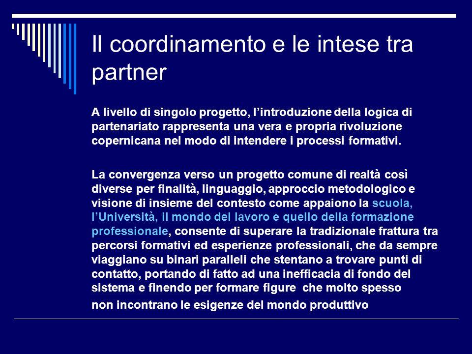 Il coordinamento e le intese tra partner Formalmente la predisposizione dei percorsi formativi degli IFTS richiede la costituzione di forme associative o consortili, in particolare attraverso consorzi o associazioni di scopo tra i diversi soggetti proponenti, al fine di attribuire un carattere di stabilità al partenariato, perché non assuma i connotati di unesperienza occasionale e discontinua.