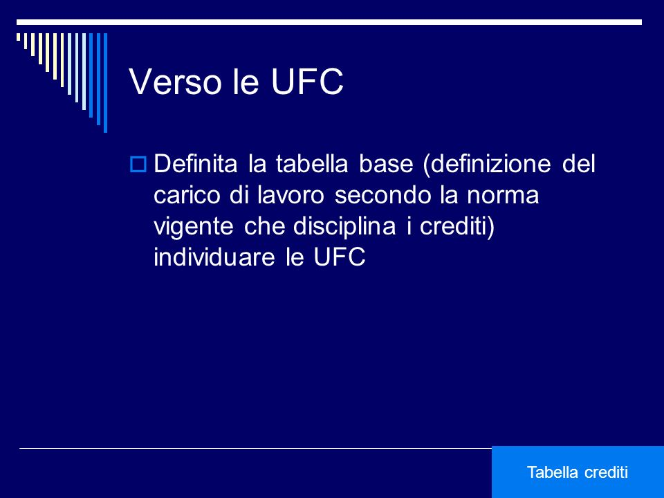 Verso le UFC Definita la tabella base (definizione del carico di lavoro secondo la norma vigente che disciplina i crediti) individuare le UFC Tabella crediti