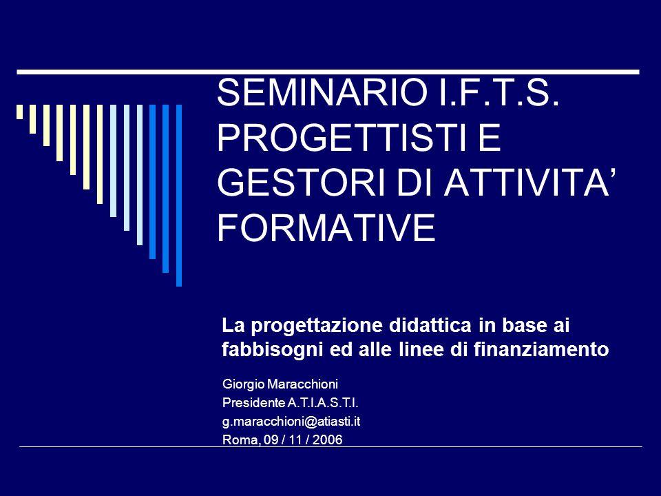 SEMINARIO I.F.T.S. PROGETTISTI E GESTORI DI ATTIVITA FORMATIVE La progettazione didattica in base ai fabbisogni ed alle linee di finanziamento Giorgio