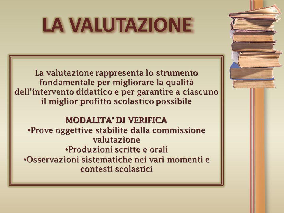 La valutazione rappresenta lo strumento fondamentale per migliorare la qualità dellintervento didattico e per garantire a ciascuno il miglior profitto
