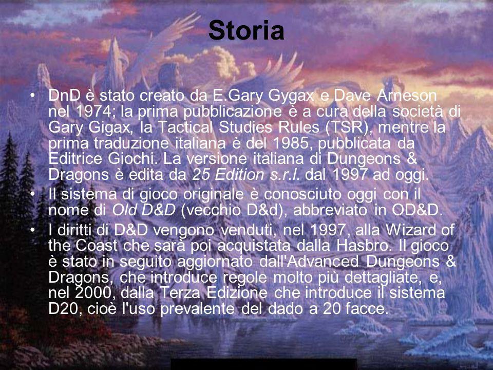 Storia DnD è stato creato da E.Gary Gygax e Dave Arneson nel 1974; la prima pubblicazione è a cura della società di Gary Gigax, la Tactical Studies Ru