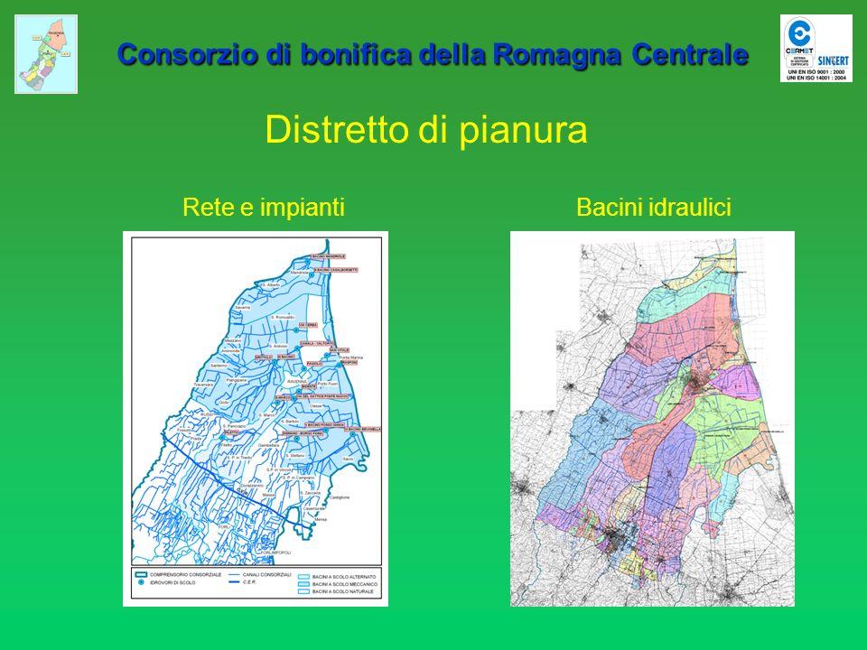 Consorzio di bonifica della Romagna Centrale Consorzio di bonifica della Romagna Centrale Anno 1970 Bonifica litoranea ravennate (Consorzio di Bonifica di Ravenna) Superficie sollevamento meccanico:33.000 ettari Portata nominale impianti:42,3 m 3 /sec Impianti principali:8 Impianti precari:3