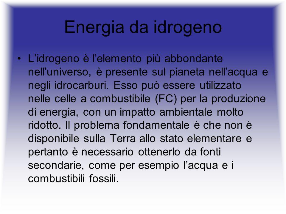 Lidrogeno è oggetto di studi e di ricerca da molti anni perchè è quasi il combustibile ideale, infatti: è lelemento più ABBONDANTE dellUniverso (75%), è altamente ENERGETICO, ha un elevato potere calorifico è ECOLOGICO, il risultato della combustione è vapore acqueo e solo una piccola quantità di ossidi di azoto, mentre se viene utilizzato nelle fuel cell (per produrre energia elettrica) emette solo acqua.