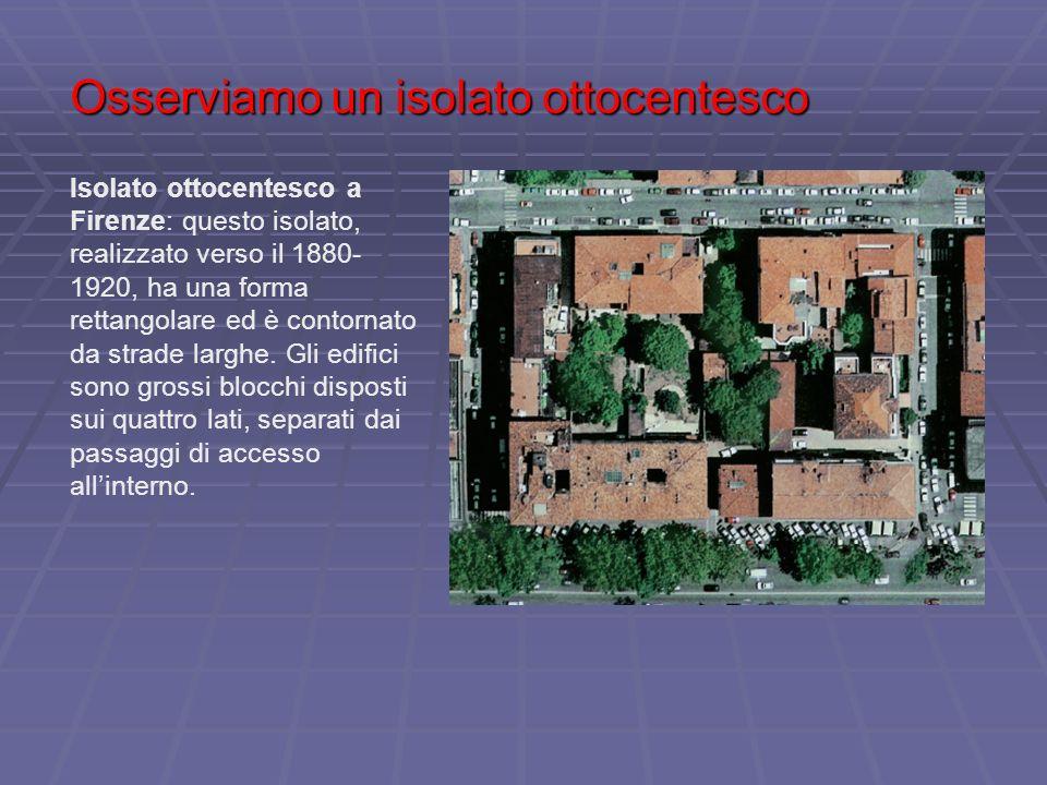 Osserviamo un isolato ottocentesco Isolato ottocentesco a Firenze: questo isolato, realizzato verso il 1880- 1920, ha una forma rettangolare ed è cont