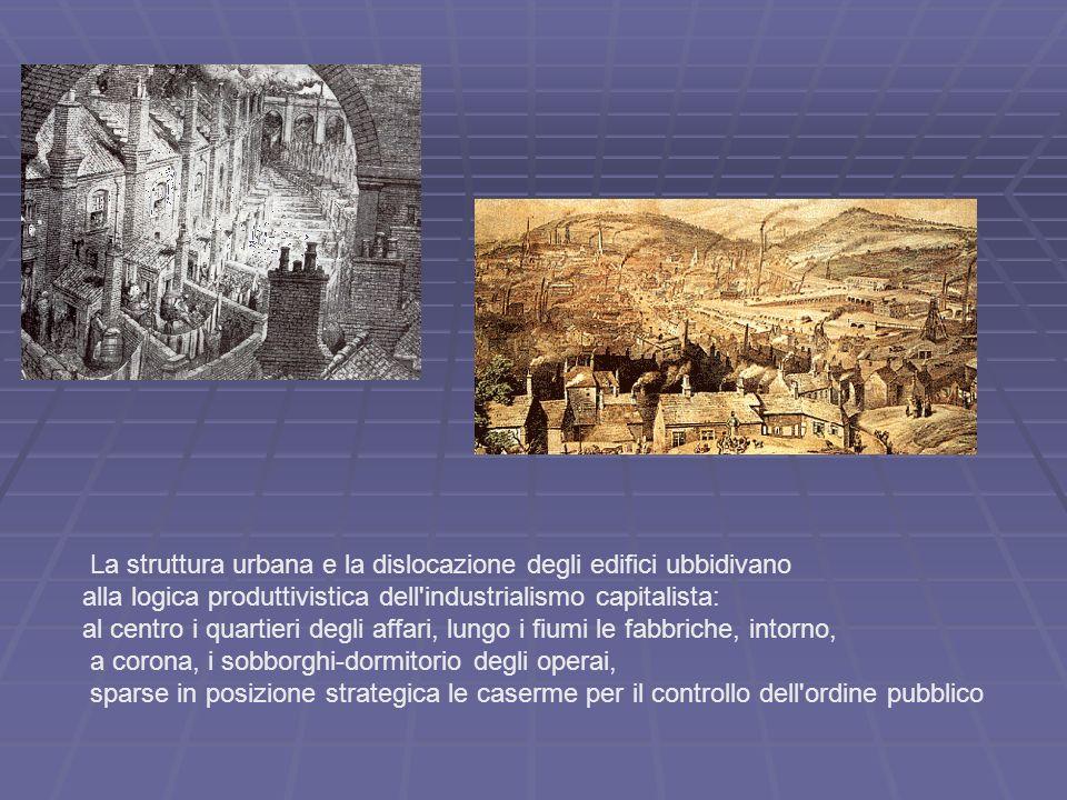 La struttura urbana e la dislocazione degli edifici ubbidivano alla logica produttivistica dell'industrialismo capitalista: al centro i quartieri degl
