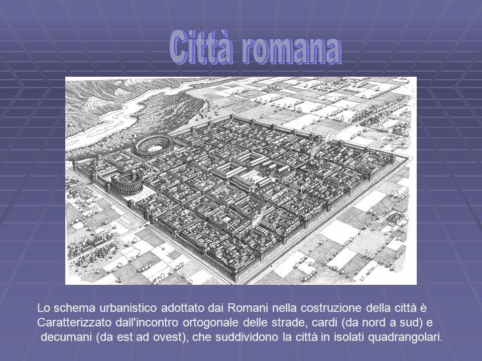 Lo schema urbanistico adottato dai Romani nella costruzione della città è Caratterizzato dall'incontro ortogonale delle strade, cardi (da nord a sud)
